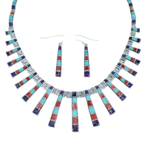 Genuine Silver Multicolor Southwest Earrings Link Necklace PX38010