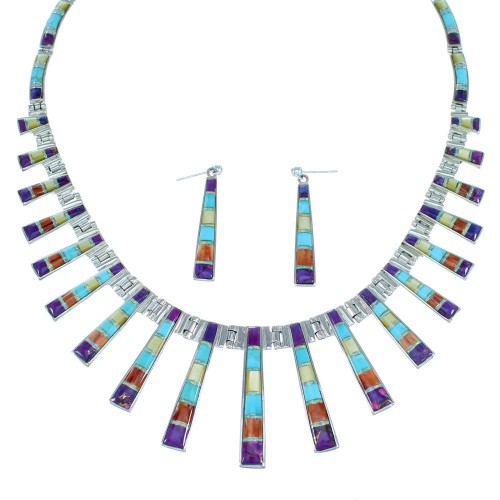 Southwestern Multicolor Silver Earrings Link Necklace Set PX37316