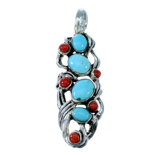 Southwestern Turquoise And Coral Pendant Jewelry PX30352