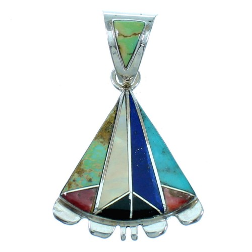 Multicolor Inlay Jewelry Southwest Silver Pendant MW75762