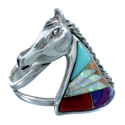 Multicolor Inlay Horse Southwest Sterling Silver Ring Size 7-3/4 CX52648
