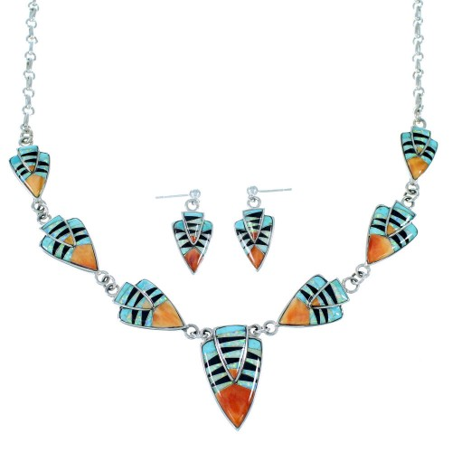 Sterling Silver Multicolor Link Necklace Earrings Jewelry Set RS34213