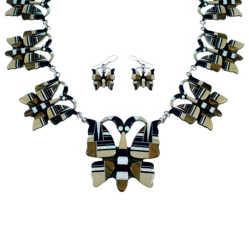 Tiger Eye Multicolor Butterfly Link Necklace Earrings Set RS53652