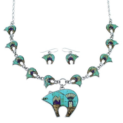 Native American Mesa Design Sterling Silver Bear Necklace Set PS64236