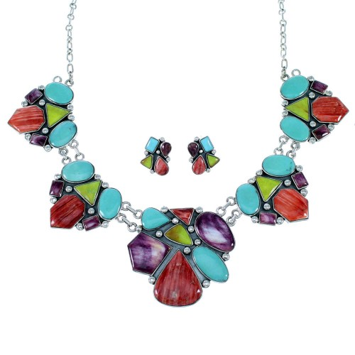 Southwestern Multicolor Link Necklace And Earrings Set EX32904