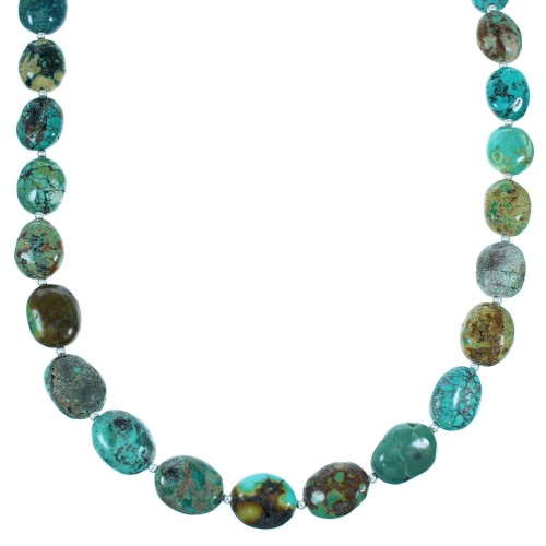 Turquoise American Indian Authnetic Sterling Silver Bead Necklace RX108641