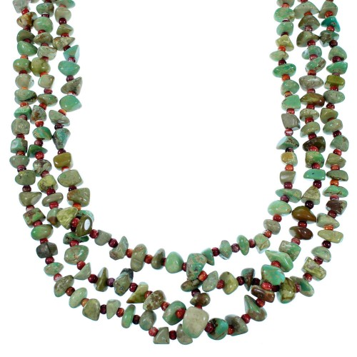 American Indian Authentic Sterling Silver Turquoise And Red Oyster Shell 3-Strand  Bead Necklace RX108647