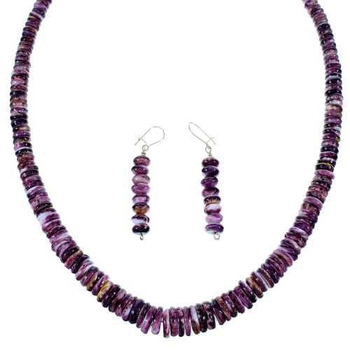 Navajo 12KGF And Purple Oyster Shell Bead Necklace And Earrings Set SX108685