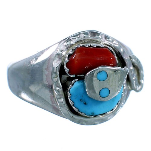 Turquoise Coral Sterling Silver Effie Calavaza Zuni Snake Ring Size 7-3/4 RX108837