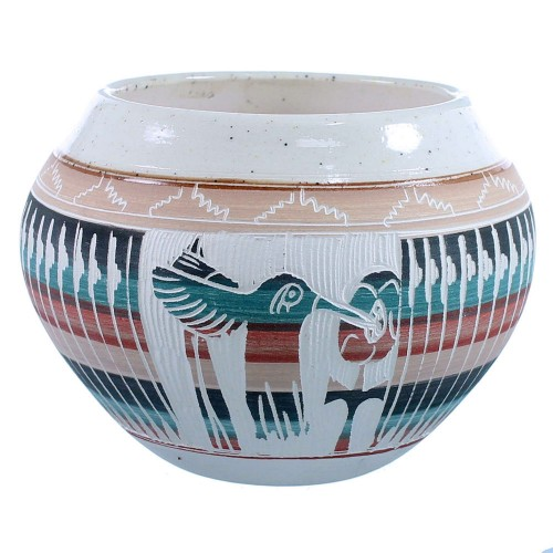 Navajo Hummingbird And Flower Pot Hand Crafted By Artist Tamaria Arviso SX109056