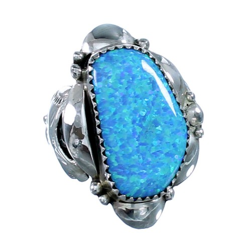 Navajo Sterling Silver Blue Opal Ring Size 6-1/2 SX109200