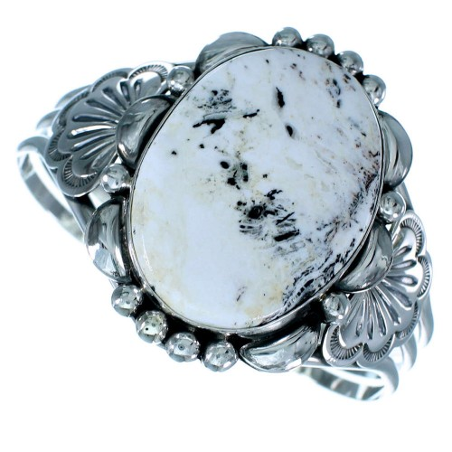 White Buffalo Turquoise Sterling Silver American Indian Cuff Bracelet RX109105