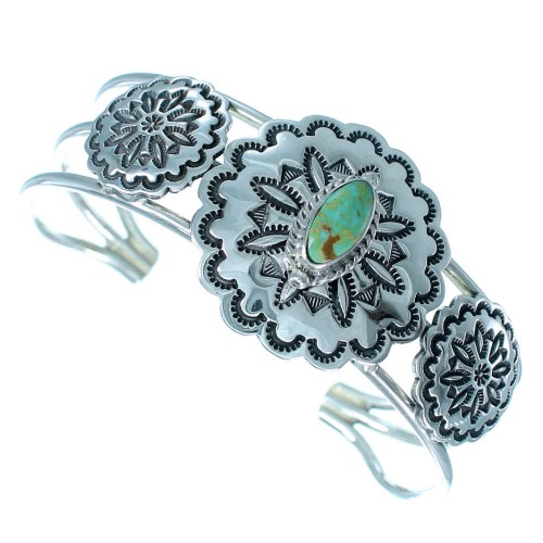 Sterling Silver Navajo Jewelry Turquoise Cuff Bracelet RX109148