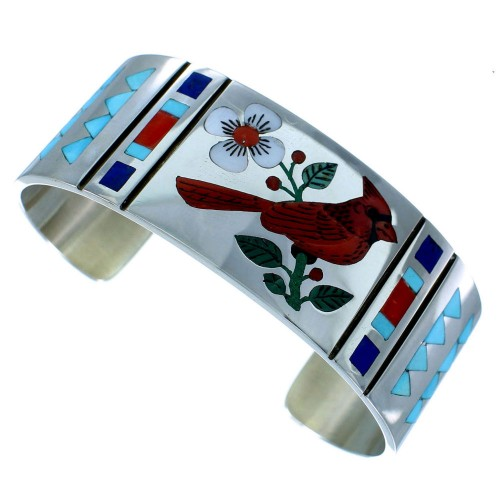 Zuni Inlay Multicolor And Sterling Silver Cardinal Bracelet RX109181