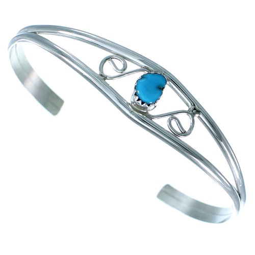 Turquoise Sterling Silver Navajo Child Cuff Bracelet RX109294