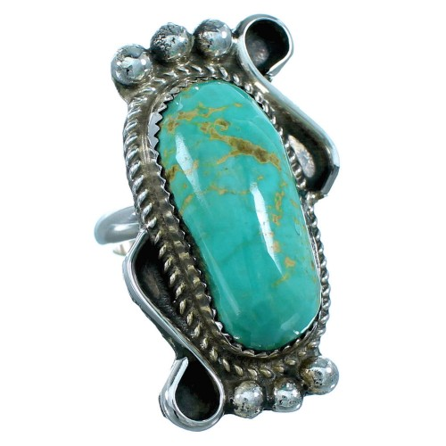 Turquoise Jewelry Navajo Sterling Silver Ring Size 6-3/4 RX109381