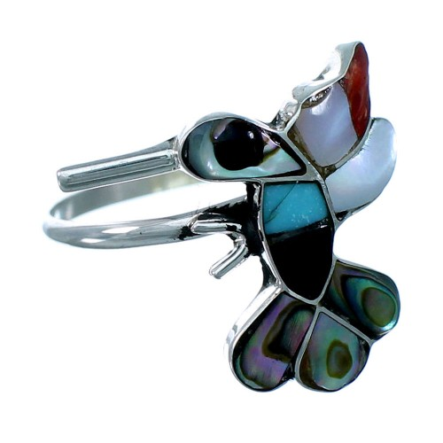Zuni Native American Hummingbird Multicolor Inlay Sterling Silver Ring Size 5-3/4 SX109436
