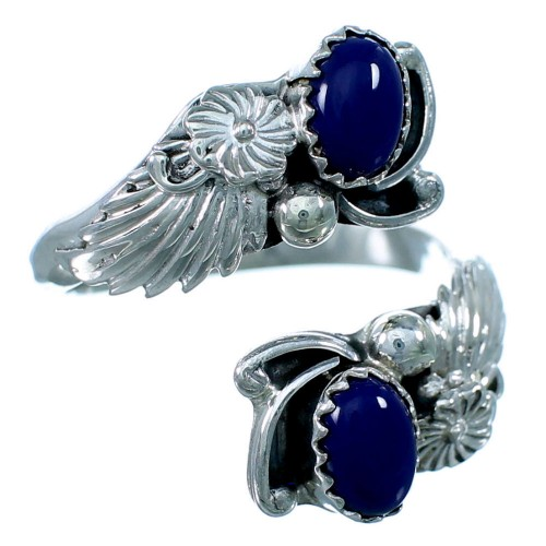 Sterling Silver Lapis Navajo Indian Feather And Flower Adjustable Ring Size 7,8,9 RX109485