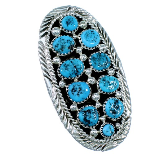 Navajo Sterling Silver Turquoise Statement Ring Size 8-3/4 RX109523