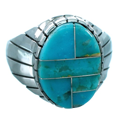 Native American Turquoise And Sterling Silver Ray Jack Jewelry Ring Size 12-1/2 RX109580