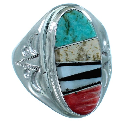 Authentic Sterling Silver Multicolor Inlay Navajo Ring Size 9-3/4 RX109831