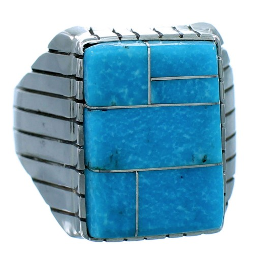 American Indian Ray Jack Turquoise Inlay Sterling Silver Ring Size 12-3/4 RX109948