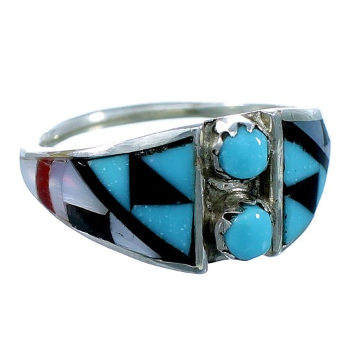 Authentic Sterling Silver Multicolor Inlay Zuni Ring Size 6-3/4 RX109963