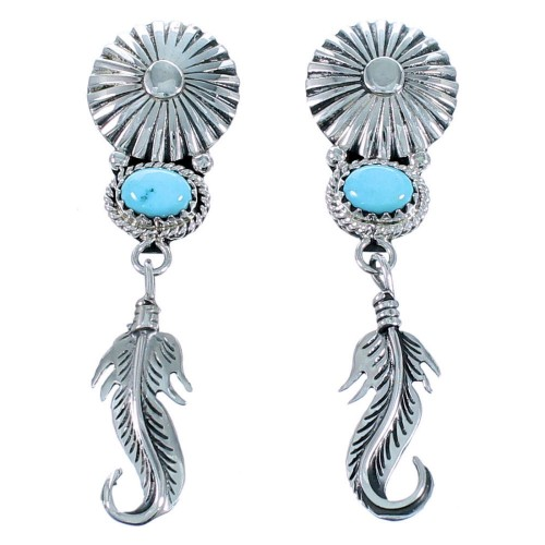 Sterling Silver Navajo Turquoise Feather Post Dangle Earrings SX109926