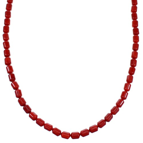 Southwest Genuine Sterling Silver And Coral Bead Necklace SX110017