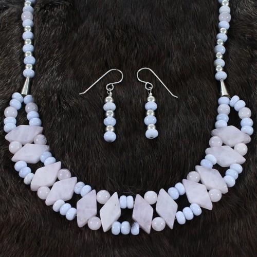 Sterling Silver Rose Quartz And Blue Lace Agate Navajo 2-Strand Bead Necklace Set SX110024