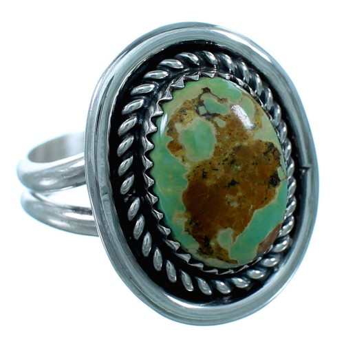 Authentic Sterling Silver Navajo Turquoise Ring Size 8-1/2 RX110575