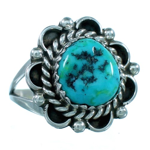 Sterling Silver And Turquoise Navajo Indian Ring Size 7 SX110670
