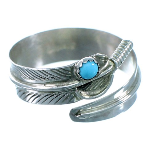 Sterling Silver Turquoise Adjustable Navajo Feather Ring Size 5,6,7 RX110512