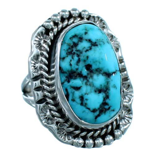 Navajo Turquoise And Sterling Silver Ring Size 6-1/4 RX110535