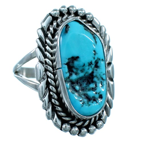Authentic Sterling Silver Turquoise Navajo Ring Size 9-1/4 RX110538