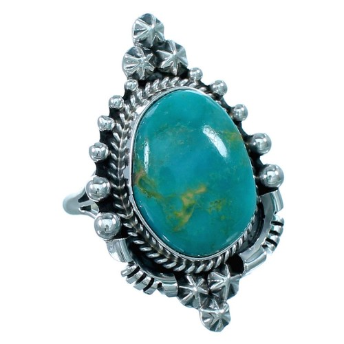 Native American Sterling Silver Turquoise Ring Size 7-3/4 RX110759
