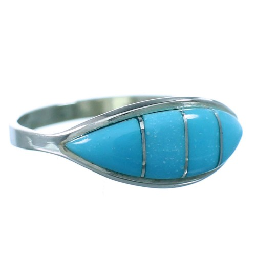 Zuni Turquoise Inlay Genuine Sterling Silver Ring Size 8 RX110768