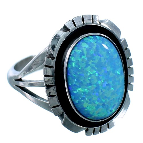American Indian Navajo Sterling Silver Blue Opal Ring Size 9-1/4 SX111042