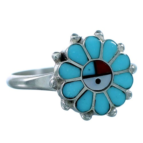 Zuni Multicolor Inlay Sun And Flower Sterling Silver Ring Size 6-1/2 RX110839