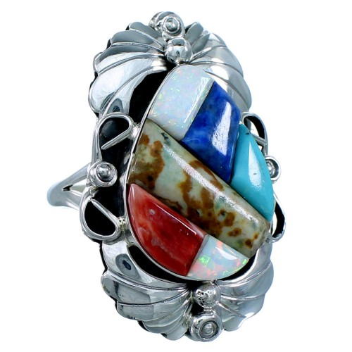 Navajo Multicolor Cobble Inlay Sterling Silver Ring Size 7 RX110887