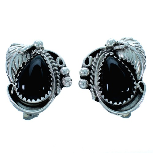 Onyx Sterling Silver Leaf Native American Clip On Earrings RX110939