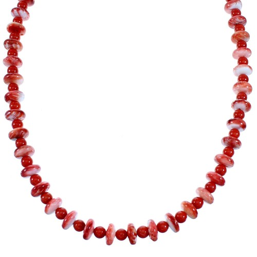 Coral Red Oyster Shell Sterling Silver Navajo Bead Necklace RX110997