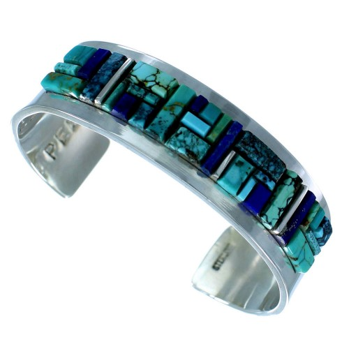 Native American Sterling Silver Turquoise And Lapis Cobble Inlay Cuff Bracelet RX111289