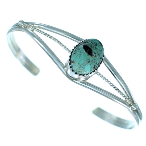 Authentic Sterling Silver Turquoise Navajo Cuff Bracelet RX111388
