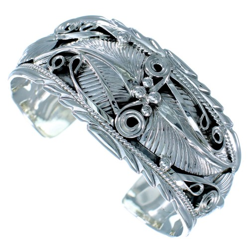 Native American Scalloped Leaf Sterling Silver Cuff Bracelet RX111335