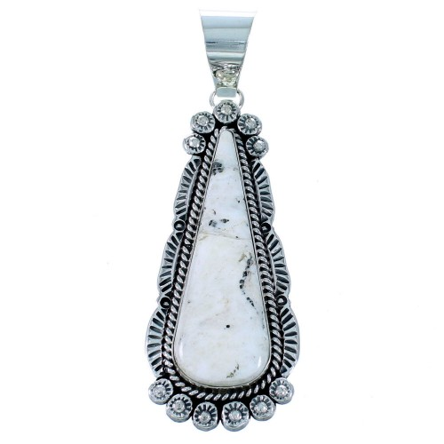 Sterling Silver White Buffalo Turquoise Tear Drop Navajo Pendant SX111412