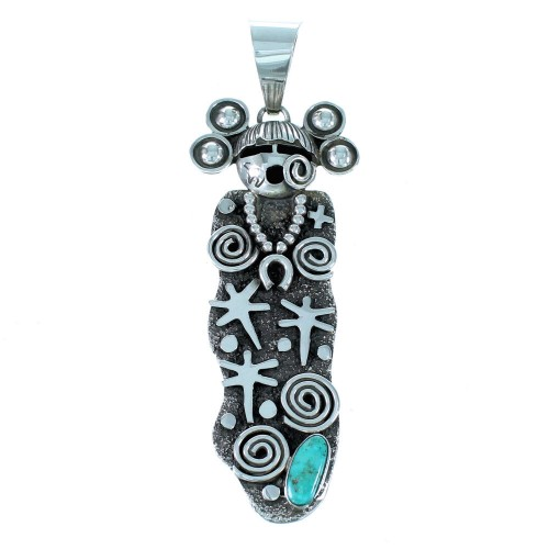 Turquoise And Sterling Silver Navajo Sunface Water Wave Pendant SX111440