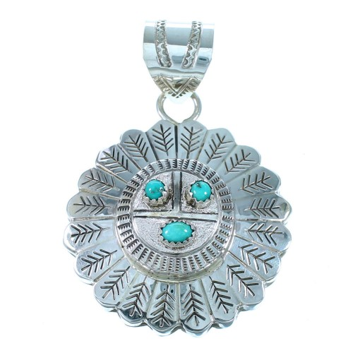 Turquoise Navajo Sterling Silver Sun Pendant SX111459