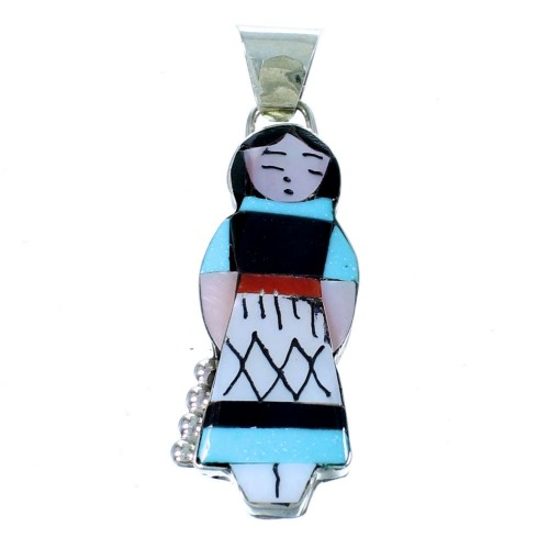 Zuni Storyteller Woman Multicolor Sterling Silver Pendant RX111450