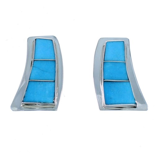 Sterling Silver Navajo Turquoise Inlay Post Earrings SX111847